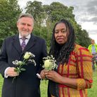 Barry Gardiner MP and Dawn Butler MP arrive at the vigil at Barn Hill Pond to remember Bibba Henry and Nicole Smallman