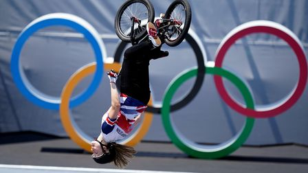 Great Britain's Charlotte Worthington on her way to winning a gold medal in the women's BMX freestyl