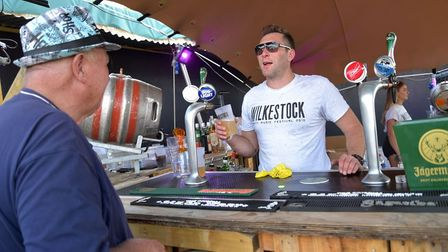 Pouring a beer at Wilkestock.