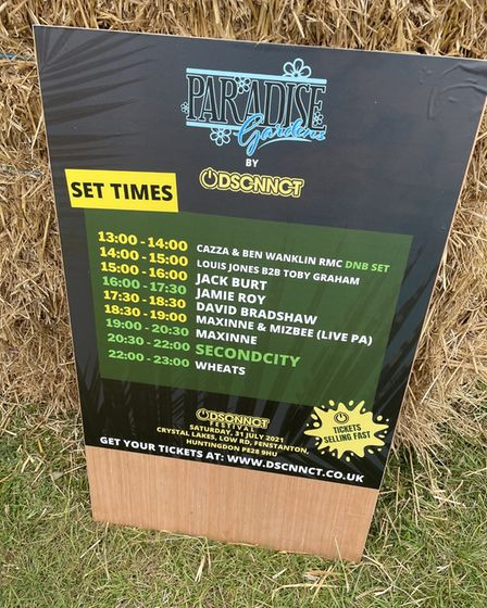 The line up for Paradise Gardens stage