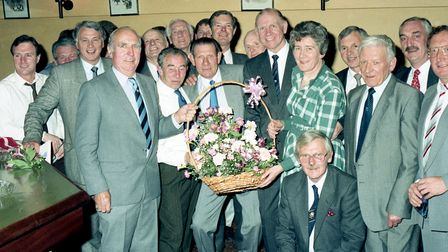Former Ipswich Town players and club directors reunite in 1989. Picture: IVAN SMITH