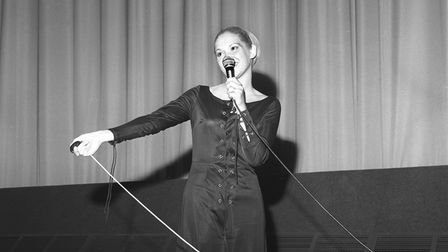 """Miss Mary Flegg (Miss Odeon"""" officially opens the new Odeon cinema in 1971."""