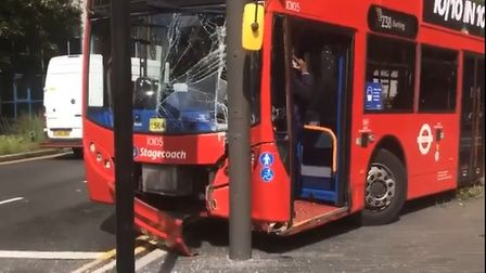 The238 bus to Barking crashed in Stratford.
