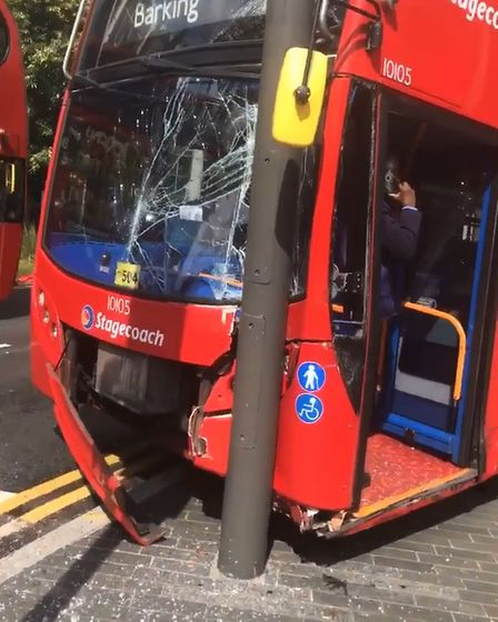 The front of the bus was badly damaged in the collision.