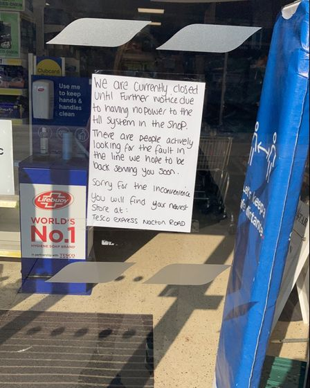 The sign posted onto the Tesco Express door in Duke Street