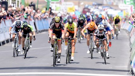 Jolien D'Hoore wins the first stage of the OVO energy Women's Tour in Southwold.Picture: Nick Butc