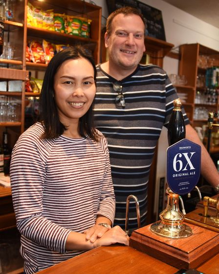 Nai and Mark Hawkes, the new landlords of the Crown at Costessey. Picture: DENISE BRADLEY
