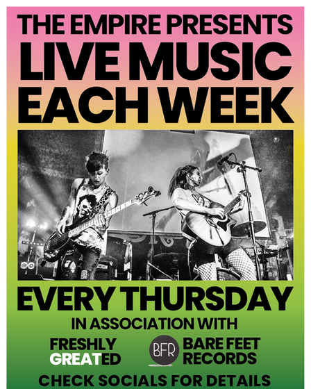 The flyer for live music at The Empire