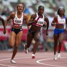 Great Britain's Dina Asher-Smith during the Women's 4 x 100m Relay Round 1 at the Olympic Stadium on