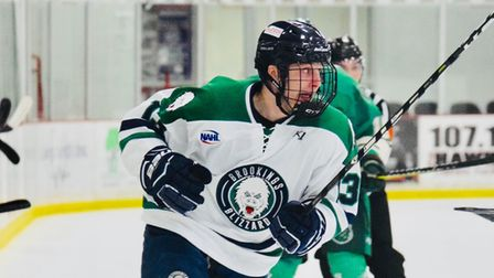 Forward James Hounsome in action for Brookings Blizzard