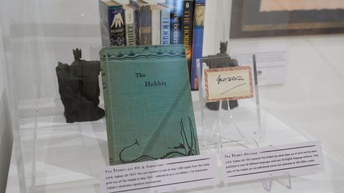 A rare first edition of The Hobbit by J.R.R Tolkien at The magic of middle-earth Exhibition in Basingstoke
