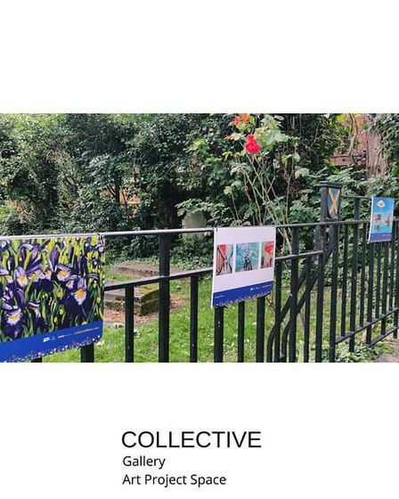 City Summer Scapes - artwork outside St Albans Cathedral.