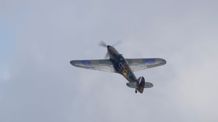 Hawker Hurricane Mk1 displaying at IWM Duxford during the flying day.