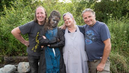 The director Steve Baldwin with Leah Emma (Lucy Sands), the make-up artist and director of photography