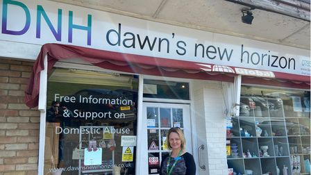 Lorraine Curston, founder of Dawn's New Horizon domestic abuse support group, outside its charity sh