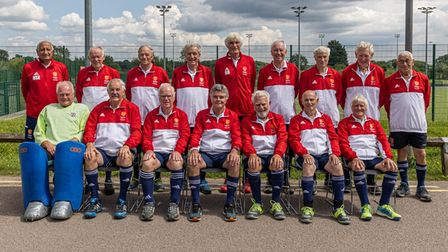 Two squads of masters hockey player turned out at St Albans Hockey Club as England O75s took on England O80s