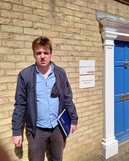 Tom Hunt MP outside the Block Management offices in Ipswich