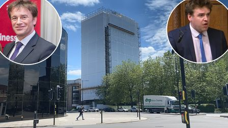 Tom Hunt MP has asked for a rethink of the material covering St Francis Tower in Ipswich while its cladding is being replaced
