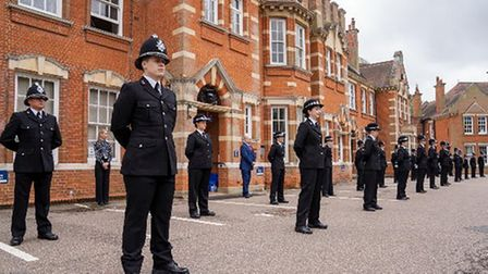 Officers in the passing out parade at Essex Police, standing in a Covid distanced way, Chelmsford, Essex