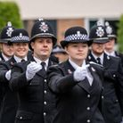 Police officers marching during the passing out parade for Essex Police