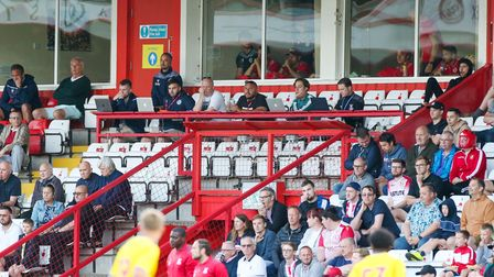 Sports reporter Neil Metcalfe in the crowd at Stevenage against Crystal Palace.