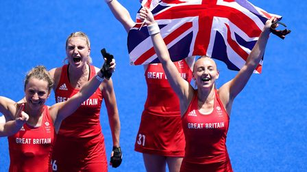 Great Britain's Shona McCallin,Lily Owsley andHannah Martin celebrate winning hockey bronze at the Tokyo Olympics