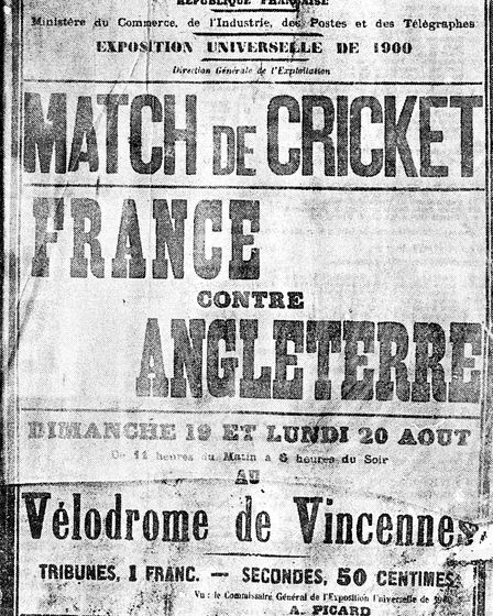 The poster which was displayed in Paris to publicise the first match.
