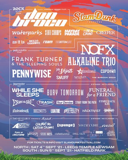 The latest Slam Dunk Festival 2021 line-up poster following Sum 41 dropping out.