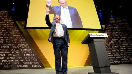 Sir Ed Davey receives applause following his speech during the Liberal Democrats autumn conference.