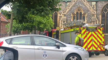 Emergency services on the scene in Norwich city centre. Picture: Archant