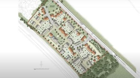 Aerial plan of London Road, Great Chesterford, Essex for Hills Residential planning application