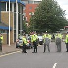 Riot police defend Ilford Police Station in August 2011