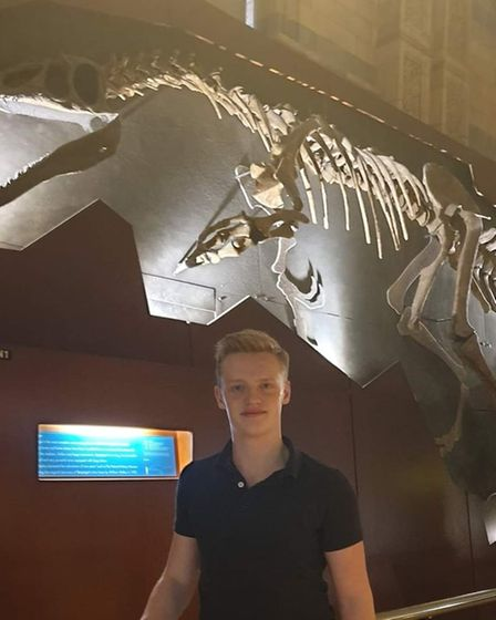 Jake Norton, who found a mammoth molar tooth on Trimingham beach in north Norfolk.