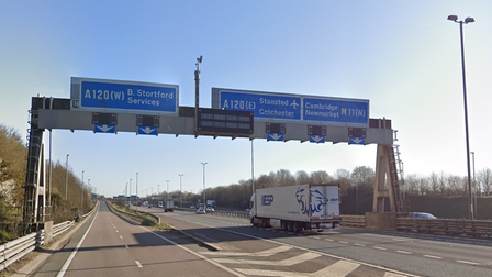 A Google Street View image: M11 junction 8 for the A120 (Bishop's Stortford, Stansted Airport)