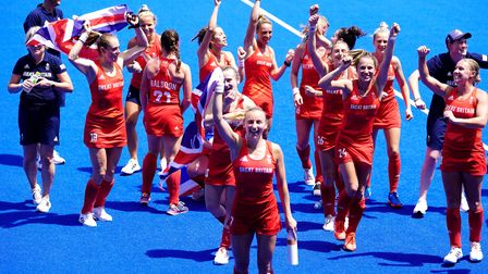 Great Britain's Hannah Martin and team-mates celebrate winning bronze in the Women's Bronze Medal Ma