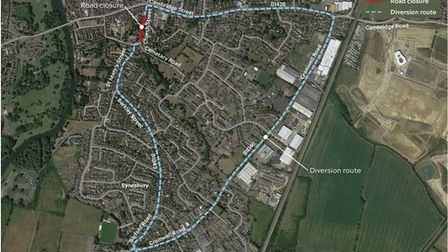 B1043 Church Street in St Neots will be closed to all vehicles until September 17.