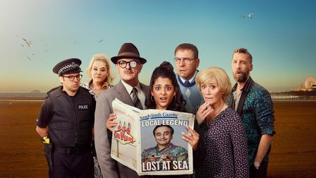 Cast of Sandylands TV comedy show including Simon Bird, David Walliams and Sophie Thompson on Weston-super-Mare beach