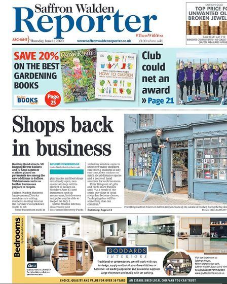 Saffron Walden Reporter's front page from June 2020, highlighting shops reopening after a Covid-19 lockdown