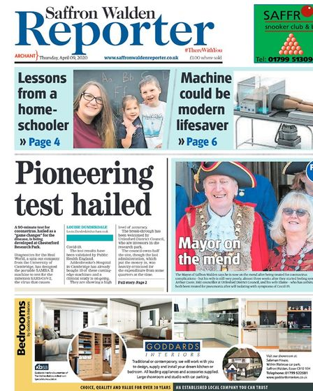 Saffron Walden Reporter's front page in April, raising awareness of the work in the Covid-19 field