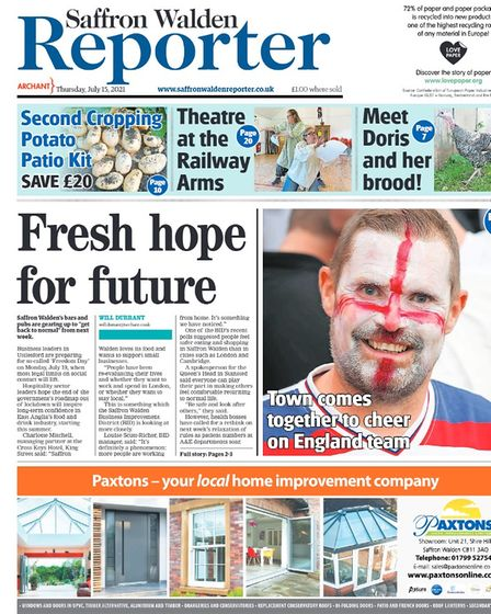 Saffron Walden Reporter front page from July 2021, highlighting that many businesses are preparing for Freedom Day