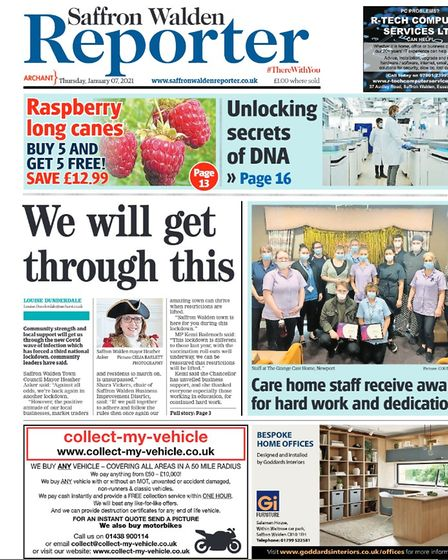 Saffron Walden Reporter front page from January 2021, with a positive message from the mayor