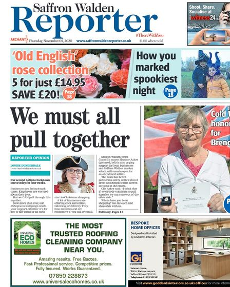 Saffron Walden Reporter's front page in November 2020, with a positive message from the mayor