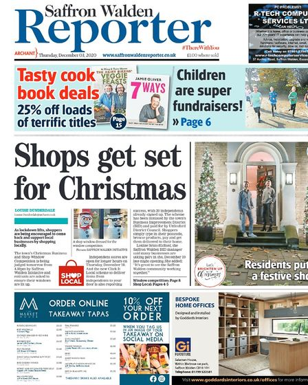 Saffron Walden Reporter front page from December 2020, promoting the Shop Local campaign