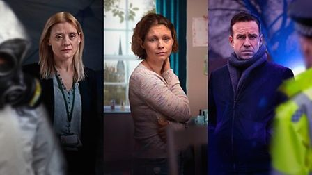 Publicity shot of the Cast of the BBC drama The Salisbury Poisonings, Anne-Marie Duff, Rafe Spall and MyAnna Buring