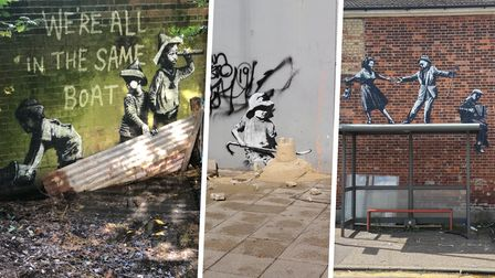 A collage of three of the four Banksy-styled street art works around the East Coast.