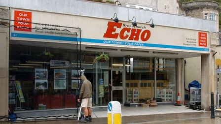 A newsagent shop in Hill Road, Clevedon, dressed as the offices of the Broadchurch Echo for filming of the ITV crime drama
