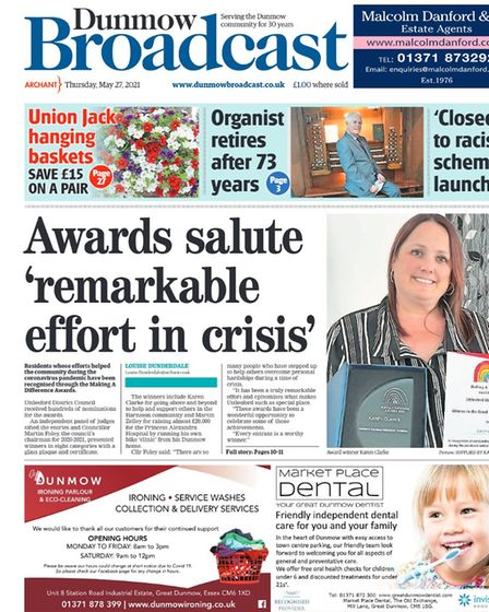 Dunmow Broadcast front page: Awards salute 'remarkable effort in crisis'