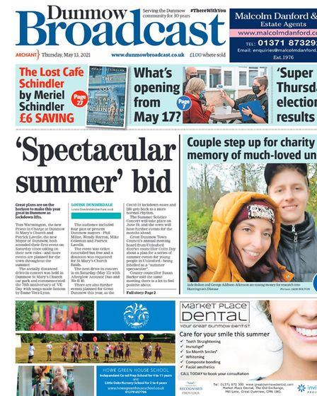 Dunmow Broadcast front page: 'Spectacular summer' bid