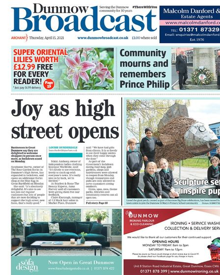 Dunmow Broadcast front page: Joy as high street opens