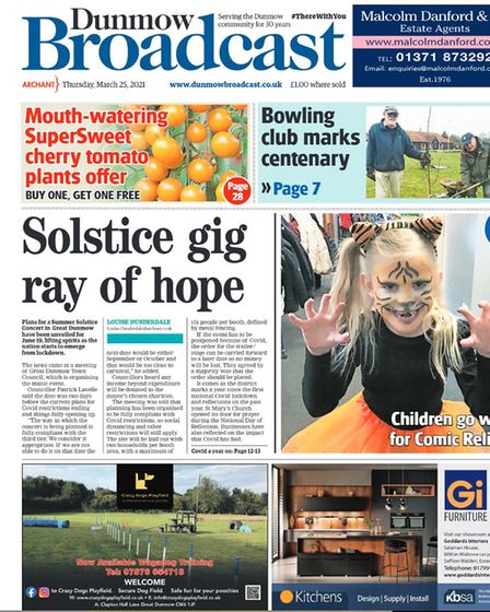 Dunmow Broadcast front page: Solstice gig ray of hope